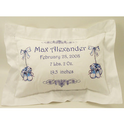 Personalized Baby Announcement Pillow Sham in Blue