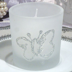 Butterfly Glass Votive Candle Holder Favor