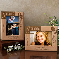 Personalized Sweet 16 Wooden Picture Frame