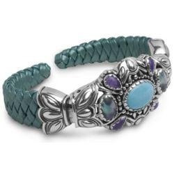 Teal Leather Silverado Cuff Bracelet