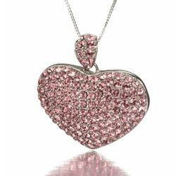 Huge Pink CZ Heart Pendant and Necklace in Sterling Silver