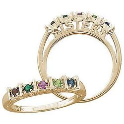 Gold Over Silver Sister Birthstone Bar Ring