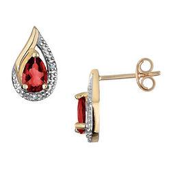 Garnet Earrings with Diamonds in Yellow Gold