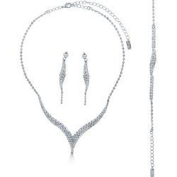 Silvertone Rhinestone Jewelry Ensemble