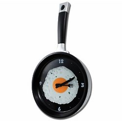 Black Frying Pan Clock with Egg