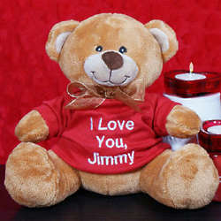 Embroidered Message Cheery Teddy Bear