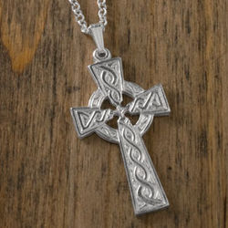 Embossed Sterling Silver Celtic Cross Pendant