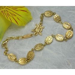 Shiny Gold Miraculous Medal Bead Rosary Bracelet