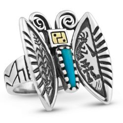 Southwestern Silver and Gold Butterfly Ring