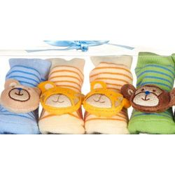 3-Pack Bear Rattle Baby Socks