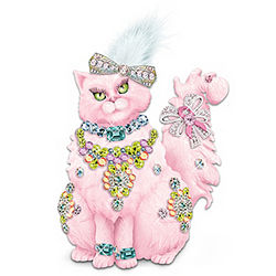Purr-fectly Pink Breast Cancer Support Cat Figurine