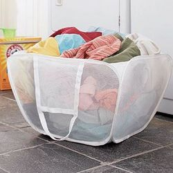 Flexible Mesh Laundry Basket with Handles