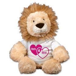 Couple Hearts Lion Plush