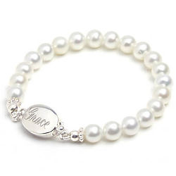 Baby's First Pearls Bracelet with Engraved Clasp