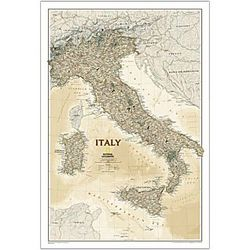 Laminated Political Map of Italy