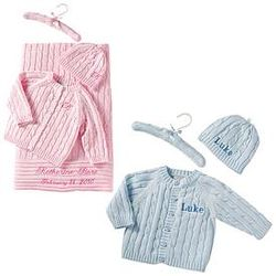 Personalized Sweater, Hat and Hanger Set