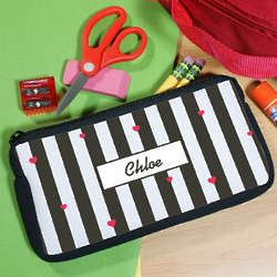 Personalized Hearts and Stripes Pencil Case