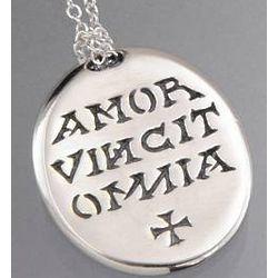 Sterling Silver Amor Vincit Omnia Poesy Necklace
