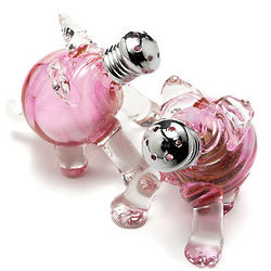 Hand-Blown Glass Pig Salt and Pepper Shakers