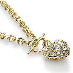 Goldtone Puffed Heart Pendant Toggle Necklace