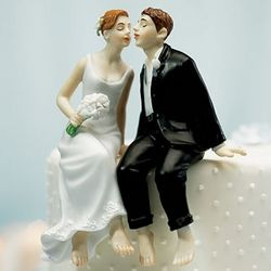 Whimsical First Kiss Bride and Groom Cake Topper