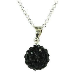Swarovski Elements Black Crystal Disco Ball Necklace