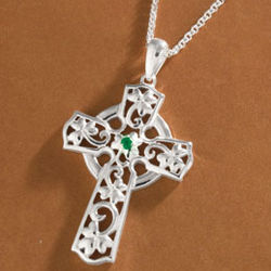 Sterling Silver and Emerald Celtic Cross Pendant