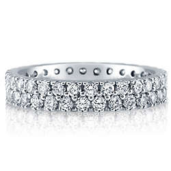 Cubic Zirconia Sterling Silver 2-Row Full Eternity Band
