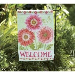 Gerbera Daisy Welcome Flag with Stake