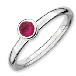 Sterling Silver Round Created Ruby Ring