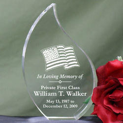 In Loving Memory Personalized Military Memorial Tear Plaque