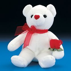 "One Dozen 7"" Plush White Bears with Red Rose"