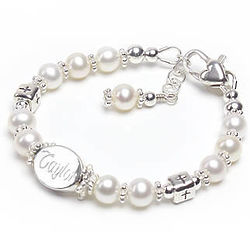 Bless This Child Personalized Pearl and Cross Bead Bracelet