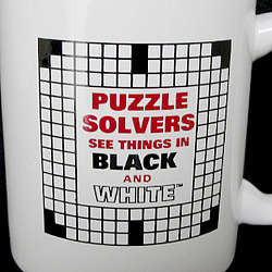 """Puzzle Solvers See Things In Black and White"" Crossword Mug"