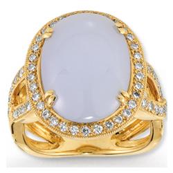 14k Yellow Gold Blue Coral 1/2 Carat Diamond Ring
