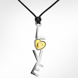 18k Gold and Stainless Steel Love Pendant