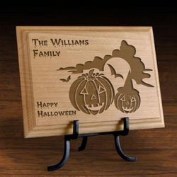 Personalized Happy Halloween Wooden Plaque