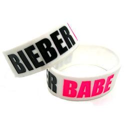 """Justin Bieber """"Bieber Babe"""" Wide Silicone Bracelet"""