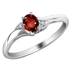 Garnet with Diamond Accents in 10K White Gold Ring