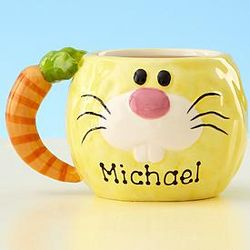 Personalized Bunny Mug with Carrot Handle