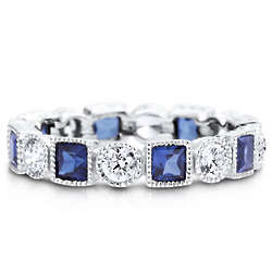Sterling Silver Sapphire Cubic Zirconia Eternity Band