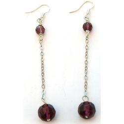 Purple Crystal Disco Ball Dangle Earrings