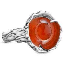 Poppy Orange Carnelian Flower Ring