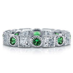 Emerald Cubic Zirconia Sterling Silver Full Eternity Ring