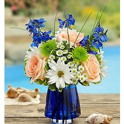 Summer Dunes Flower Bouquet in Blue Cobalt Vase