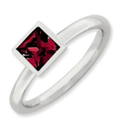 Sterling Silver Square July Swarovski Crystal Ring