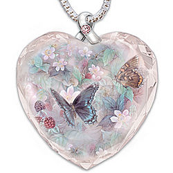 Butterfly Art Breast Cancer Support Crystal Pendant
