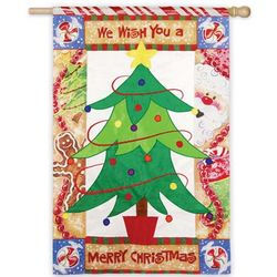 We Wish You a Merry Christmas House Flag with Tree