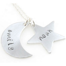 Moon and Stars Personalized Hand Stamped Necklace or Keychain