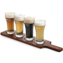 Craft Beer Flight Paddle with Engravable Glasses